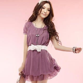 Buy Tokyo Fashion Lace-Sleeve Belted Chiffon Dress 1022963968