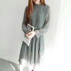 Long-Sleeve Midi Chiffon Dress 1596