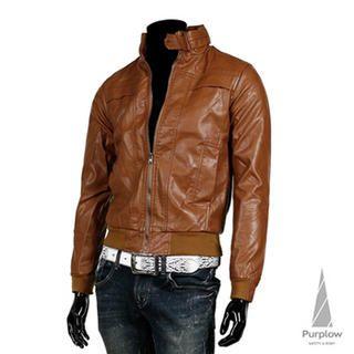 Buy Purplow Faux Leather Jacket 1022268538
