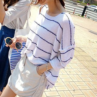 Striped Sheer Long Sleeve Knit Top 1052832798