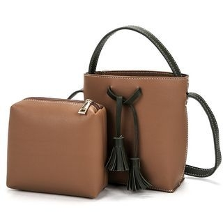 Set: Faux Leather Crossbody Bag + Pouch