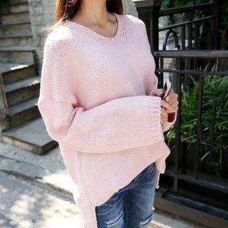 V-Neck Drop-Shoulder Knit Top 1053824786