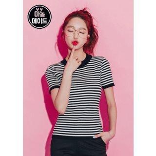Stripe Slim-Fit Knit Top 1058479027