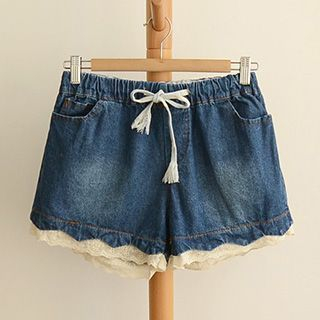 Lace Trim Denim Shorts 1049268022