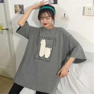 Image of 3/4-Sleeve Embellished T-Shirt