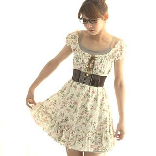 Buy CatWorld Lace-Up Floral Print Dress 1022687626