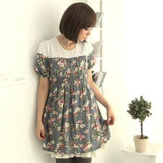 Picture of CatWorld Eyelet-Lace Yoke Floral Print Dress 1022687748 (CatWorld Dresses, Womens Dresses, Taiwan Dresses)