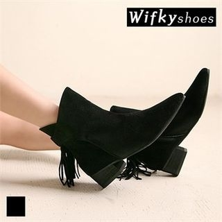 Tasseled Faux-Suede Ankle Boots