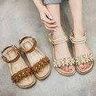 Faux-Leather Flower Platform Sandals 1596