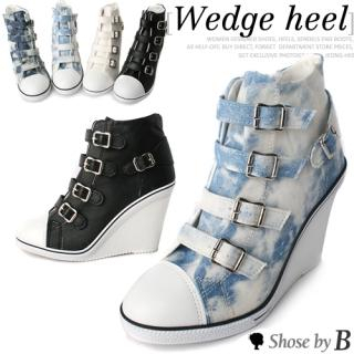 Buy Shoes by B Buckled Wedge Sneakers Detail Pumps 1023048388