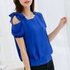 One-Shoulder Ribbon Chiffon Top 1596