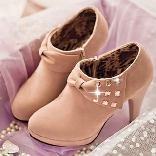 Studded Bow-Accent Heeled Ankle Boots