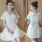 Short-Sleeve A-Line Lace Dress 1596