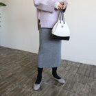 Band-Waist Ribbed Knit Pencil Skirt 1596