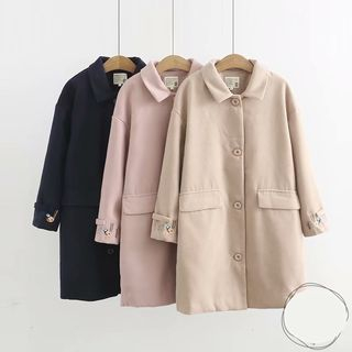 Image of Embroidered Buttoned Coat / Contrast-Trim Hooded Duffle Coat