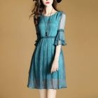 Elbow Sleeve Chiffon Dress 1596
