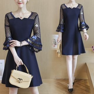 Image of 3/4-Sleeve Embroidered Mesh Paneled A-Line Dress