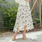 Dip-Back Floral Chiffon A-Line Long Skirt 1596