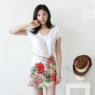 Picture of Antic Beads Flower-Print T-Shirt 1022546025 (Antic Beads Dresses, Womens Dresses, South Korea Dresses, T-Shirt Dresses)