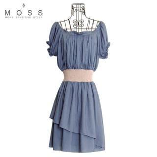 Buy MOSS Puff-Sleeve Contrast Waist Layered Detail Dress 1023067115