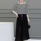 Set: 3/4-Sleeve T-Shirt + Wide Leg Cropped Pants 1596