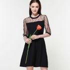 Elbow-Sleeve Tie-Waist Crewneck Panel Lace Dress 1596