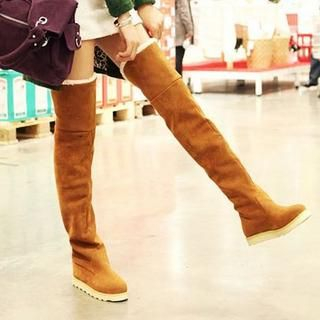 Faux-Suede Over-The-Knee Boots