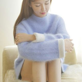 Image of Mock-Neck Two-Tone Long Sweater