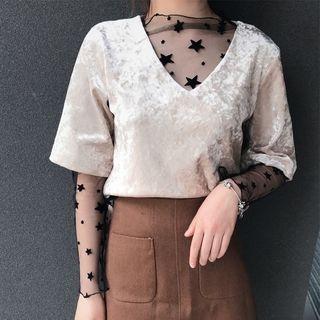 Velvet V-Neck Elbow-Sleeve T-Shirt 1057562067