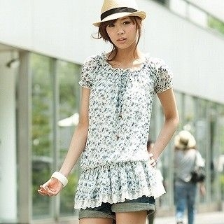 Picture of ageha@shibuya Floral Dropwaist Tunic Light Blue - One Size 1022589679 (ageha@shibuya Apparel, Womens Blouses, Japan Apparel, Japan Blouses)