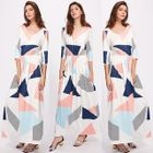 Printed 3/4-Sleeve A-Line Maxi Dress 1596