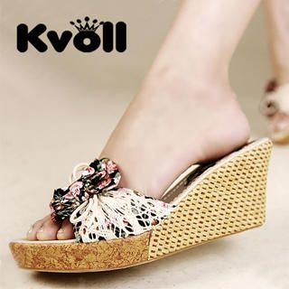 "Buy Kvoll Floral ""Bow"" Crochet Wedges 1022988046"