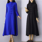 Chinese Frog Button Midi Dress 1596