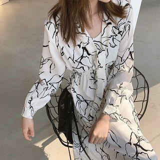 Image of Flower Long-Sleeve Midi A-Line Dress / Spaghetti Strap Dress