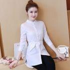 Long-Sleeve Tie-Waist Long Shirt 1596