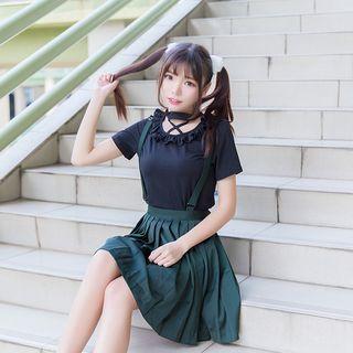 pleated-suspender-skirt