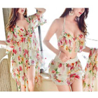 Set: Floral Bikini Top+ Floral Swim Shorts + Cover-up 1596