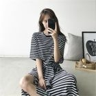 Tie-Waist Stripe Maxi T-Shirt Dress 1596