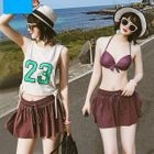 Set: Plain Bikini Top + Swim Shorts + Tank Top 1596