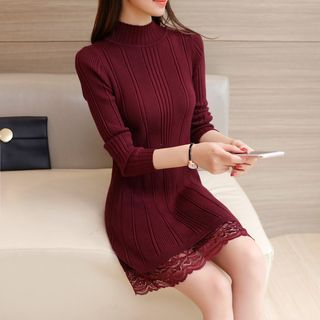 Lace-Hem Ribbed Knit Dress 1057004753