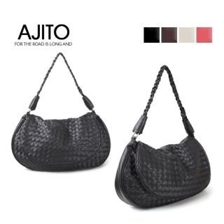 Picture of AJITO Faux-Leather Woven Hobo 1021534017 (AJITO, Hobo Bags, Korea Bags, Womens Bags, Womens Hobo Bags)