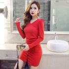 Long-Sleeve Shirred Sheath Dress 1596