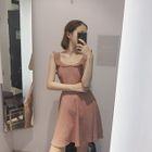 Frilled Open Back Sleeveless A-Line Dress 1596