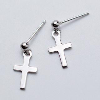 Image of 925 Sterling Silver Cross Drop Earring