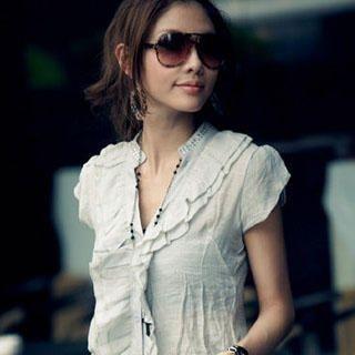 Buy PUFFY Ruffle Shirt with Belt Gray – One Size 1022945785
