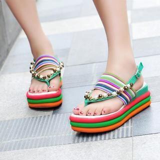 beaded-striped-wedge-platform-sandals