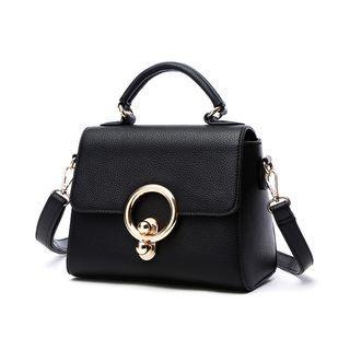 Metal-Accent Flap Handbag 1061500695