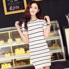 Set: Striped Short Sleeve Knit Top + Knit Skirt 1596