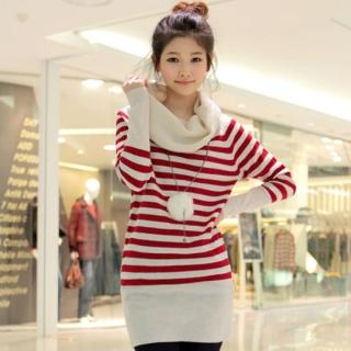 Picture of CLICK Cowl-Neck Striped Sweater 1021970957 (CLICK Dresses, Womens Dresses, South Korea Dresses, Sweater Dresses)