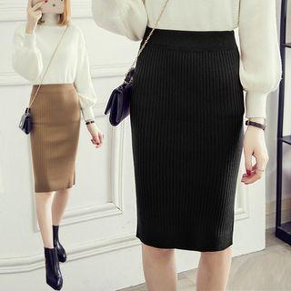 Ribbed Pencil Skirt 1064295508